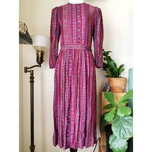 Janna Schaffhausen Folkloric 3/4 Sleeve Midi Dress